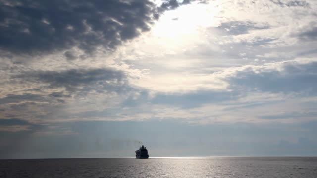cruise ship at sunset video