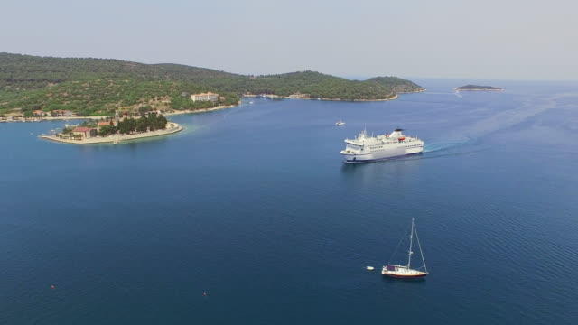 AERIAL Cruise ship in the bay video