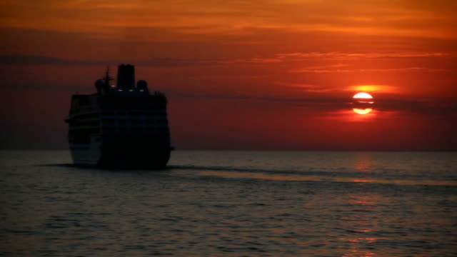cruise ship on a beautiful sunset video