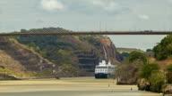 Cruise Ship Passing Under Panama Canal Centennial Bridge Close-up Shot video