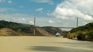 Cruise Ship Passing Under Panama Canal Centennial Bridge Wide Shot video