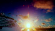 Cruise ship sailing away and seagulls at sunset, tilt, with sound video