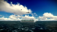 Cruise ship sailing, beautiful morning, seagulls flying, camera track, with sound video