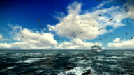 Cruise ship sailing, timelapse afternoon clouds and seagulls, tilt, sound included video