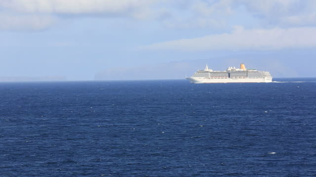 Cruise Ship Sails Into Atlantic Ocean, Madeira, Portugal video