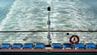 Cruise ship stern engine boat wake Pacific Ocean HD video