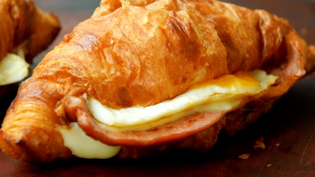 Crunchy ham and cheese croissant for breakfast video
