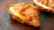 Crunchy ham and cheese croissant with honey mustard glaze video