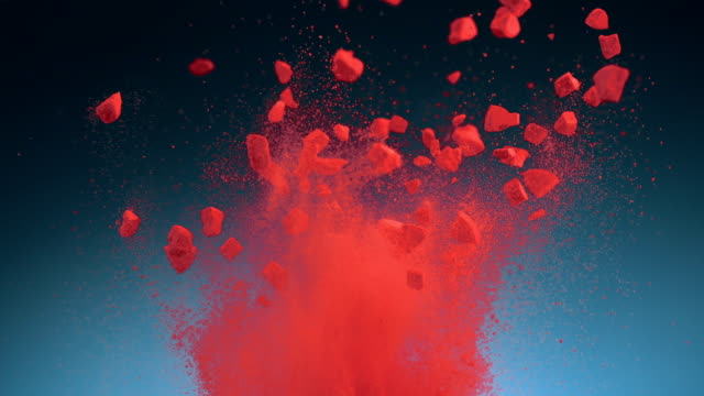Crushed tablet explosion, Slow Motion video
