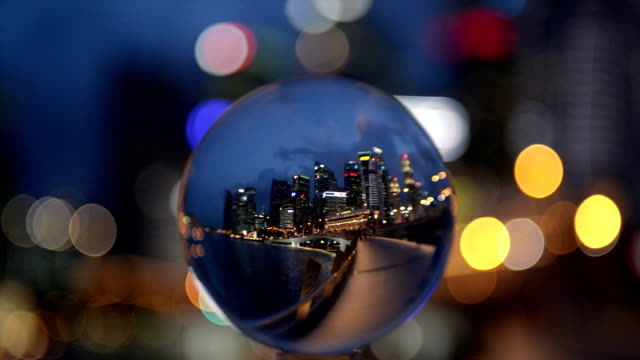 Crystal Ball with Reflection of Singapore CBD Skyline video