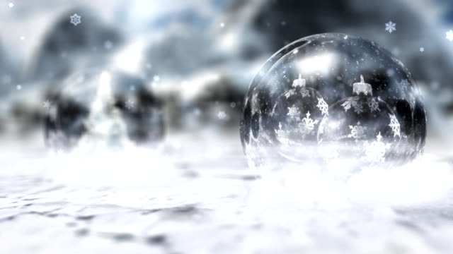 Crystal balls with Christmas decorations, winter season. video