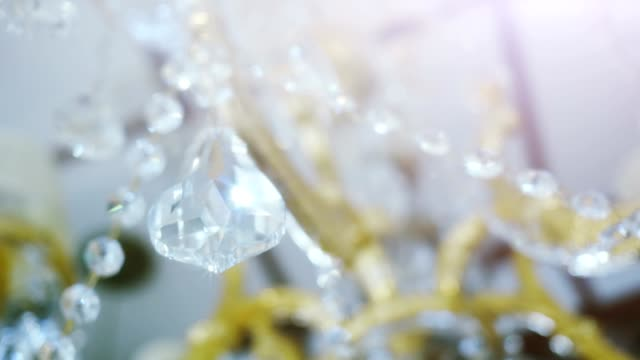 Crystal chandelier. Big classic triangle shape crystal. video