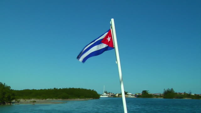 cuban flag at the back of a boat video
