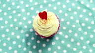 Cupcake against polka dot background video