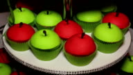 Cupcakes in the form of red and green apples video