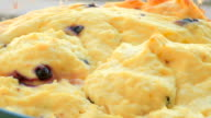 curd pudding with berries of black currant video