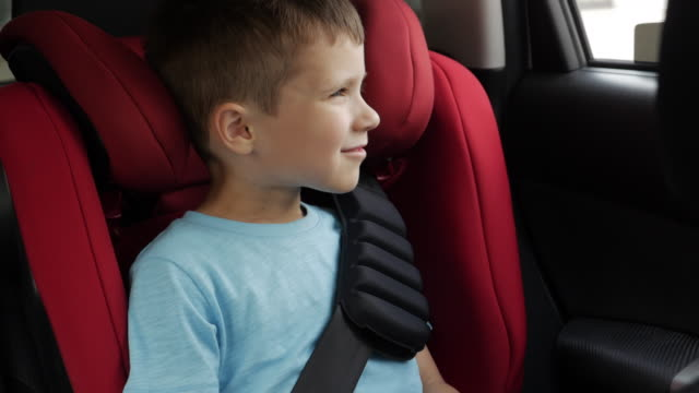 Curious boy tells something while driving in infant car seat video