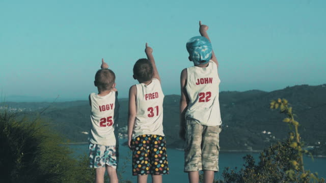 Curious boys. Seaside scenery video