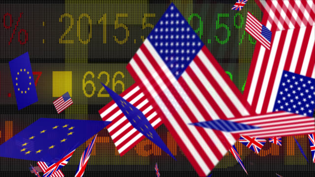 4K currency symbols and flags moving with a LED ticker video