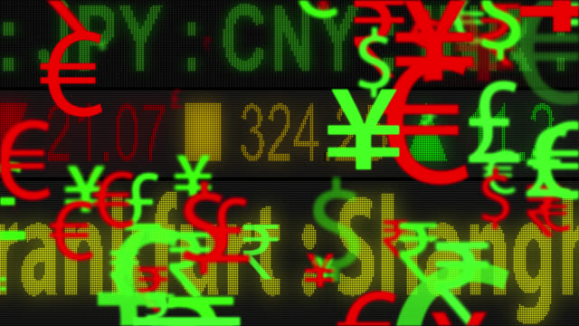 4K currency symbols moving with a LED ticker background video