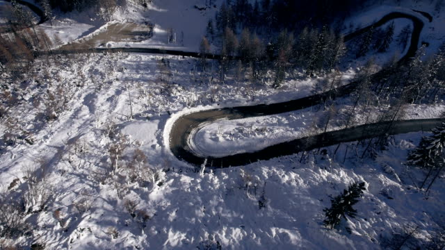 AERIAL: Curvy road in alps mountains video