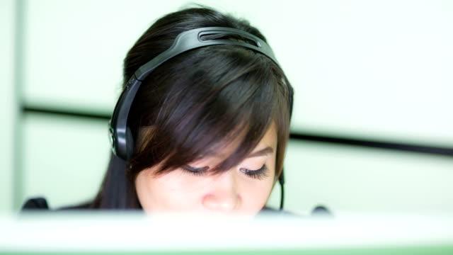 Customer support operators working video