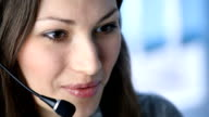 Customer support phone operator at workplace video