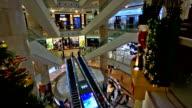 Customers shopping in the Taipei 101 building near Christmas, Taiwan, China video