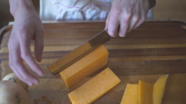 cut butternut squash into square video