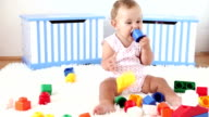 HD: Cute Baby Girl Playing with blocks video