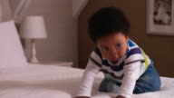 Cute Baby Having Fun Bouncing On Parents Bed video