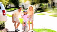Cute Blonde Girl Practicing Bike Riding video