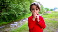 Cute Boy Eating Bread video