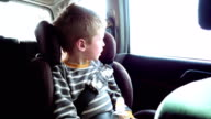 Cute boy in a child car seat looks out the window video