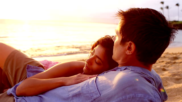 Cute couple on beach video