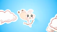 Cute cupid cartoon shooting arrow at balloon with greeting video