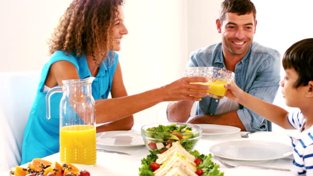 Cute family toasting with orange juice at lunch video
