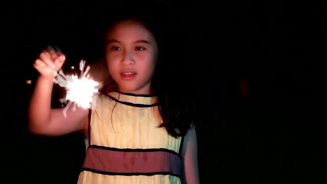 Cute girl Holding sparkler video