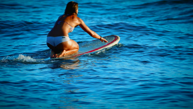 A cute girl paddles out in the ocean waves in the summer sunset in San Diego, California wearing a cute white bikini. video