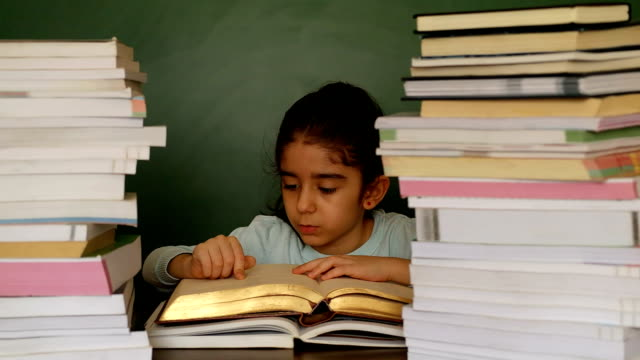 Cute Girl Reading a Book at school video