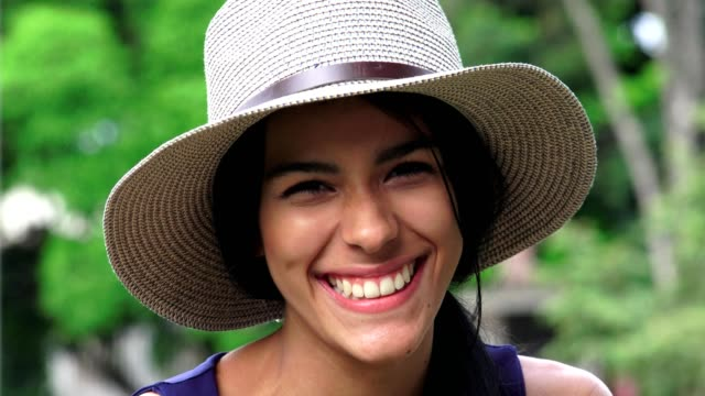 Cute Happy Smiling Teen Girl With Hat video