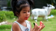 cute kid Enjoying Slices Of Water Melon, a little girl enjoy eating water melon video