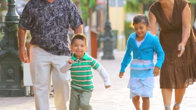 Cute kids run toward camera video