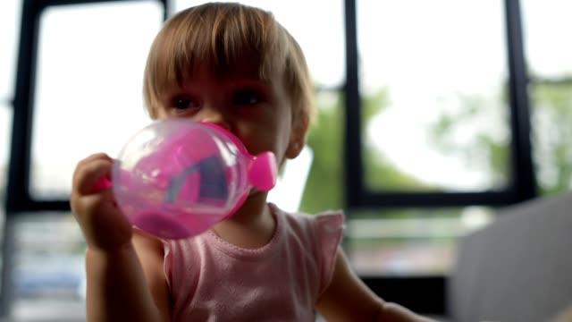 Cute little baby drinkin water video