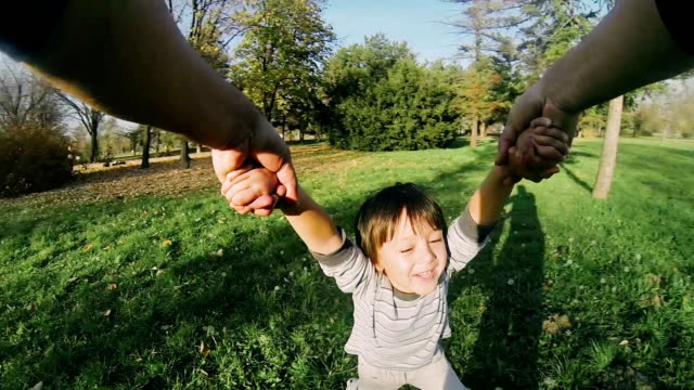 Cute little boy outdoors video