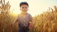 SLO MO Cute little boy running among wheat ears video