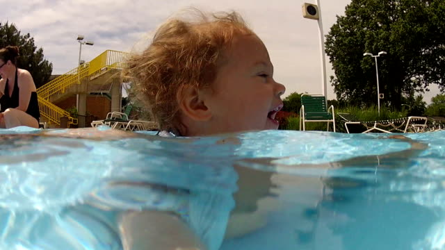 Cute little girl playing in the pool video
