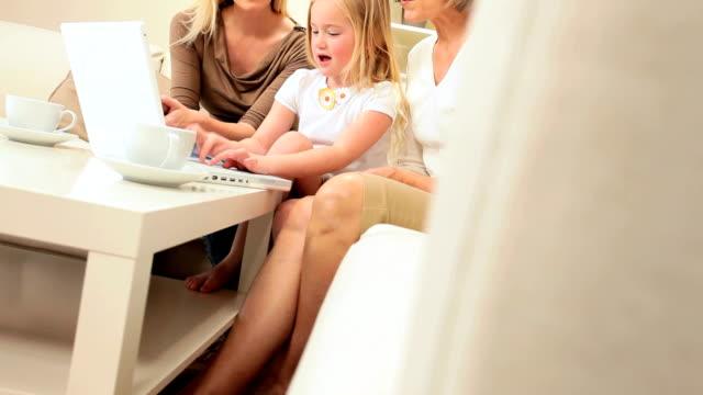 Cute Little Girl Using Laptop video