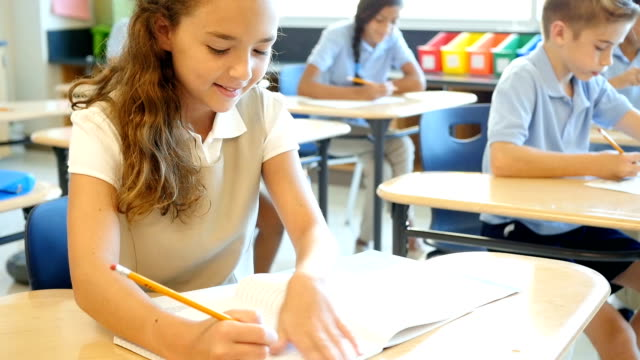 Cute private elementary schoolgirl works on assignment in class video