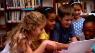 Cute pupils looking at laptop in the library video